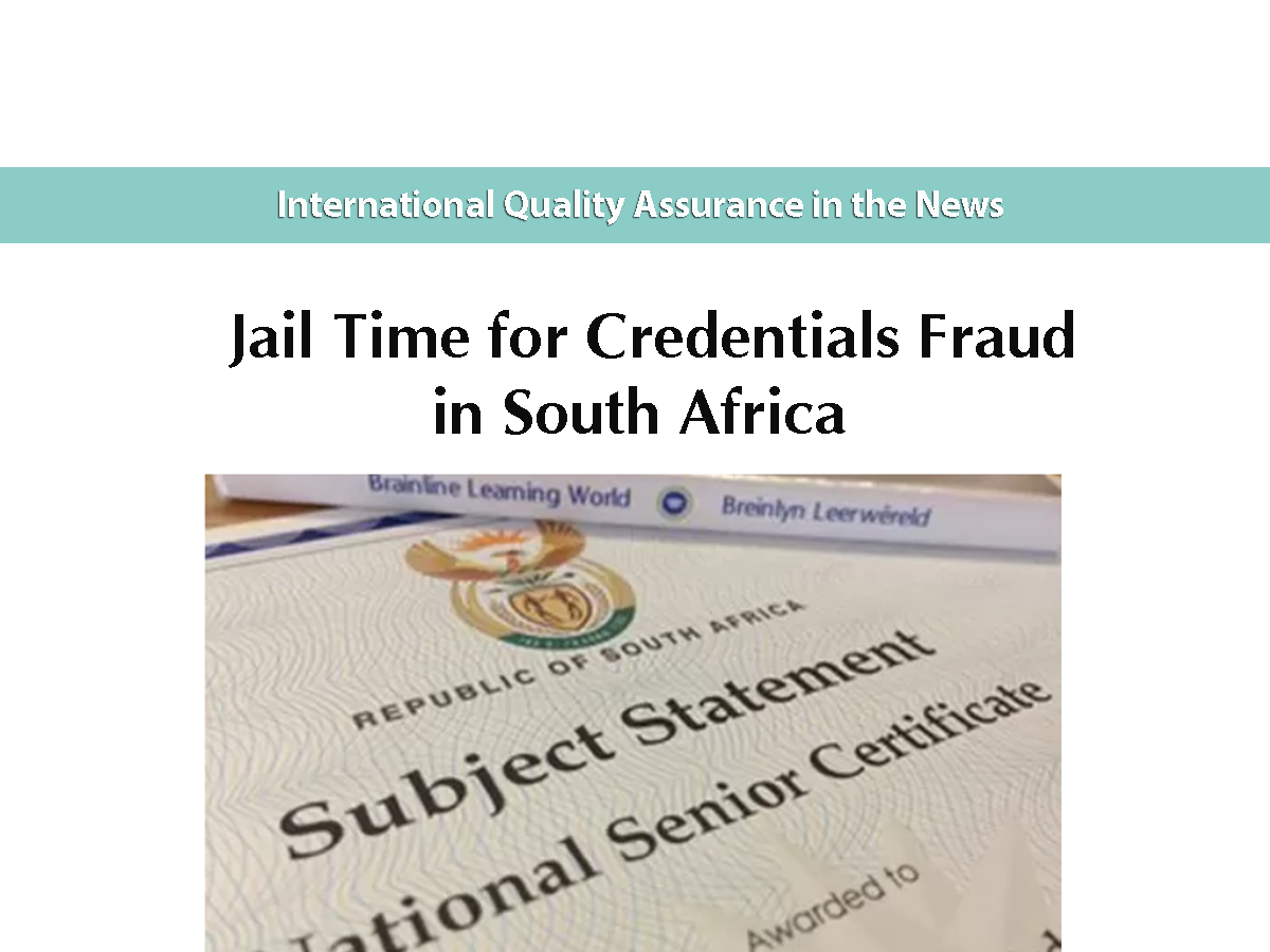 Jail Time for Credentials Fraud in South Africa